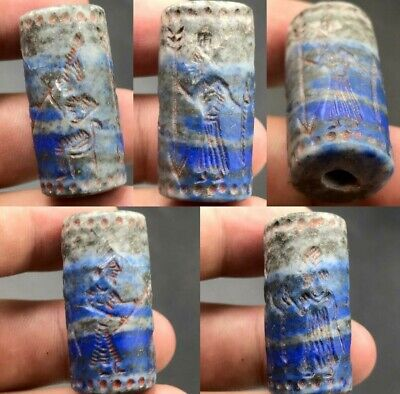 Sassanian Old Lapis Lazuli Stone Cylinder Ancient kings intaglio seal bead