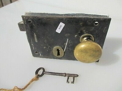 Antique Iron Door Lock Brass Knobs Handles Victorian Old Bolt Key Vintage