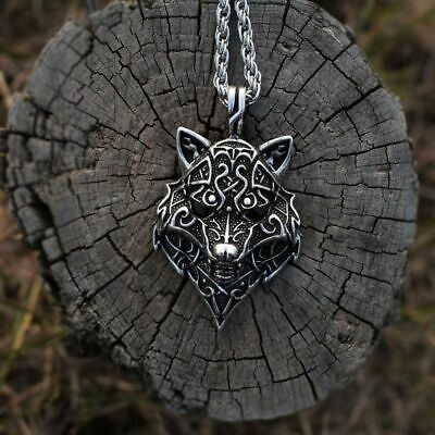 Celtic Wolf Head Pendant Ancient Paganism Vikings Necklace Animal Men Jewelry