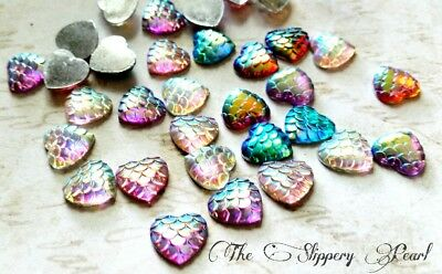 4 Mermaid Scale Cabochons 20mm Flatbacks Dragon Scale Red Flat Backs