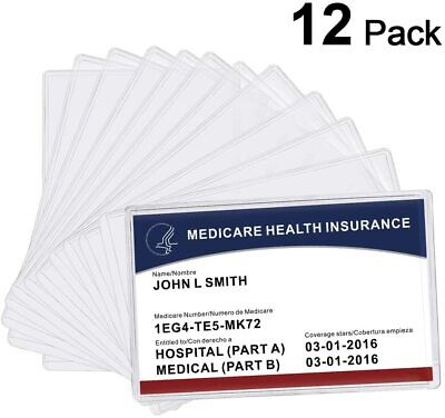 MaxGear 12 Pack New Medicare Card Holder Protector Sleeves, 12 Mil Clear PVC Wat