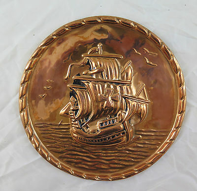 Antique Plaque Copper Worked a Embossed Sweden Scandanavia First `S R10