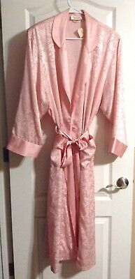VTG Victoria's Secret Robe Long Damask Pink Peach Floral Silky Hong Kong NEW