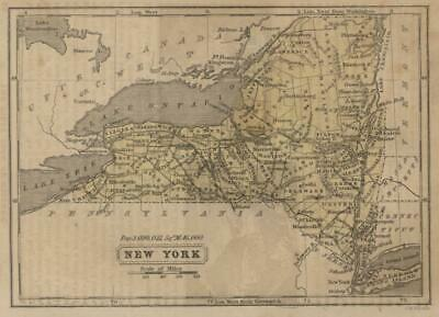 New York State Map Long Island Finger Lakes c. 1855 Boynton miniature map