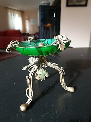 Glas glass centerpiece klein schale Messing Montur Jugendstil