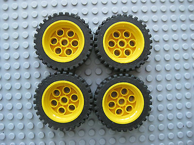 Lego Minifig ~ Lot Of 4 Technic Yellow Wheels w//Tires Car Truck Hard Rubber #bnh