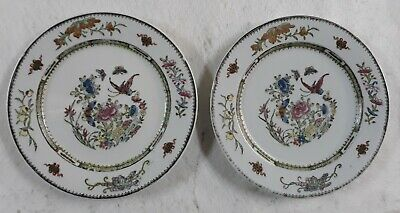 Pair Antique Asian/Chinese Rose Famille Export Enameled Painted Porcelain Plates