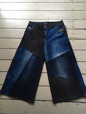 Bnwt Diesel Girls Jeans Cropped Patch Work Flared Trousers 14 years Rrp £150