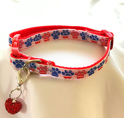 Small ~ Patriotic Paws ~ Red Quick Release Bling Dog Cat Pet Collar + Heart USA