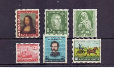 WEST GERMANY 1952 COMMEMORATIVE ISSUES x 6 MNH CAT c£103