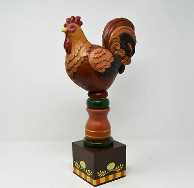 "Vintage handpainted wood carved standing Rooster chicken kitchen decor 26"" Tall"