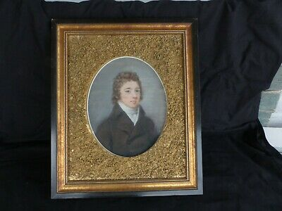 antique 19th century painting watercolor gentelman gold nugget picture frame old
