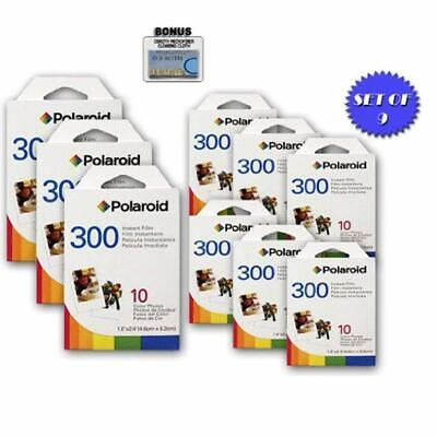 9 Pack Of Polaroid PIF-300 Instant Film for 300 Series Cameras + DBROTH Fiber Cl