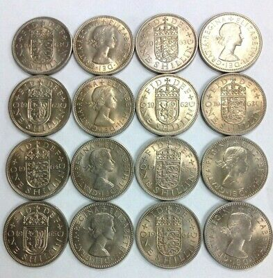 Vintage Great Britain Shilling Coin Lot 16 Pieces FREE SHIPPING