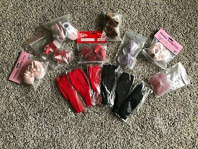 "American Girl Doll 6 Pairs Of 18"" Red and Black Tights and 8 Pairs Of Shoes"