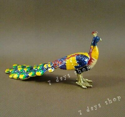 Chinese Cloisonne Enamel Peacock Statue Jewel Case Box Crystal Handcraft M19