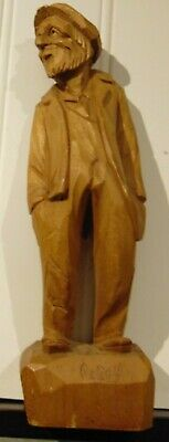 "Vtg Wood Carving Caron Quebec Canada 10"" Old Man Hand Carved Folk Art"