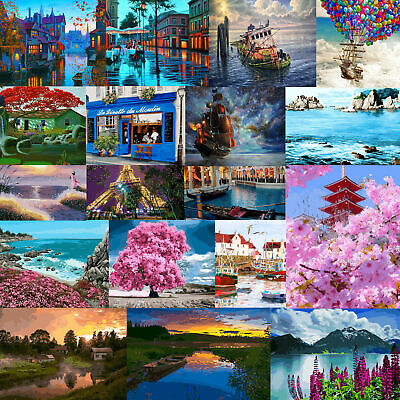 DIY Edu Kids Natural Scenery Paint By Number Kit Oil Painting Home Wall Decor