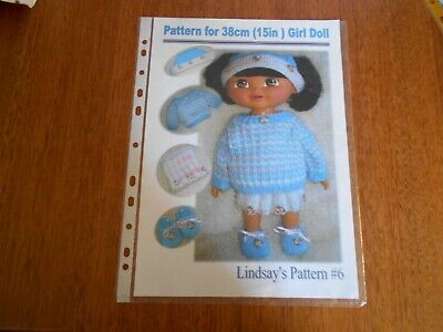 "Pattern For 38Cm (15"") Girl Doll - Lindsay's Pattern # 6 - Good Condition -"