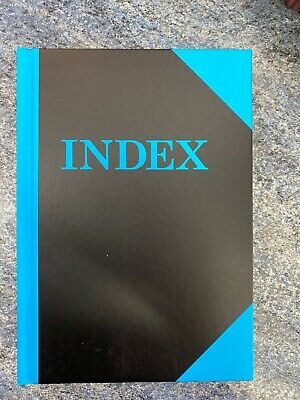 Index Book ruled Bright Blue A5 hard cover case bound 192 pages A-Z