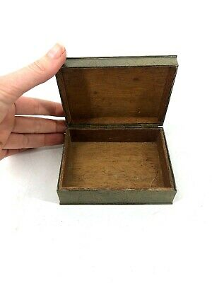 Bronze Box Hammered Chinese Trinket Vtg Gift Wood Lined Small