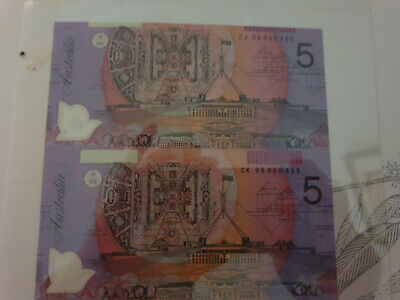 AN UNCUT VERTICAL PAIR of $5 NOTES with BLACK SERIALS  UNC  NO  RESERVE
