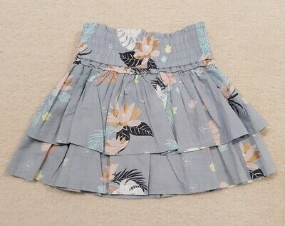 BNWOT COUNTRY ROAD Girls Layered Grey/Blue Floral Skirt Size 3