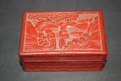 Vintage Hand Carved Red Chinese Cinnabar Lacquer Ware Jewelry Trinket Box
