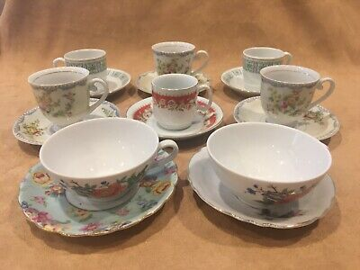16 Mismatched China DEMITASSE Cups and Saucers ~ Lot 8 Mixed Set VTG Tea Party