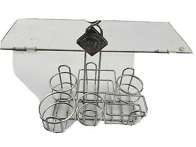 Tabasco Chrome and Steel Condiment Holder 6 Space Restaurant Table Caddy Rack
