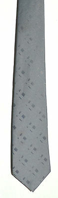 Men's New Neck Tie, Classic Skinny, Solid Gray square dot design by First Avenue
