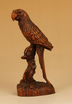 Rare Antique Chinese Old boxwood Hand Carved parrot Statue figure