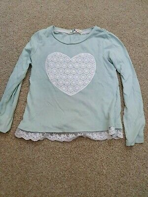 Girls Long Sleeved Mint Green H&M Heart Lace Trim T-Shirt Top Age 4-6 Years