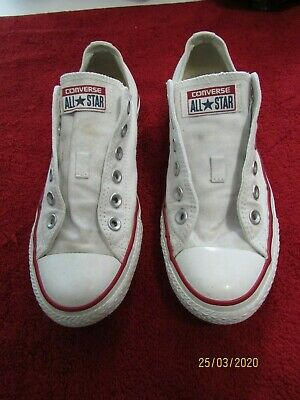 Men's Converse All Star White Sneakers Men 6 Woman 8 In Great Condition