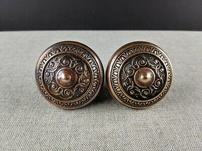 Antique Victorian Pair Brass Ornate Door Handles