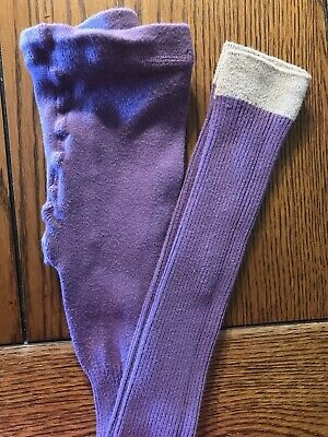 Mini Boden Purple Footless Tights with Silver Cuffs Girls Ribbed Size 9-10Y