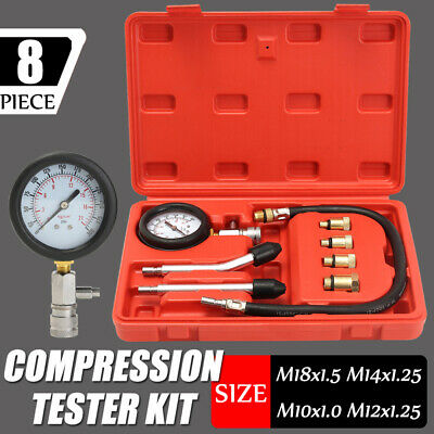 Diesel Petrol Engine Cylinder Pressure Tester Car Compression Gauge Test Set UK