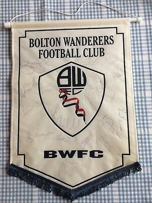 Bolton Wanderers Football Pennant Full Squad Signed Autographed Rare Vintage 90s