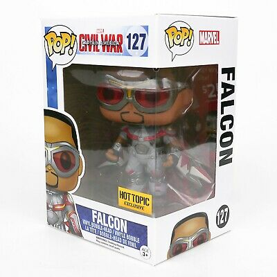 Funko Pop Hot Topic Marvel #127 Civil War Falcon + Protector Vaulted Retired HTF