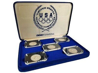 RARE - 1988 USA Olympic Committee Salvador Dali 5PC Silver Medal Collection Set
