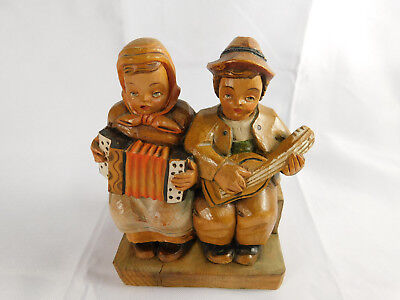 Vintage O. Maeder Wood Carved Musical Couple on a Bench Lucerne Original Label