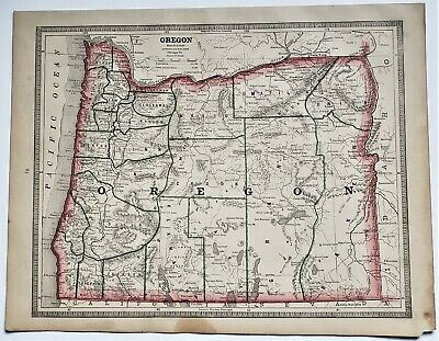 Original 1883 Color  Map Of Oregon From Crams  Atlas Of The World