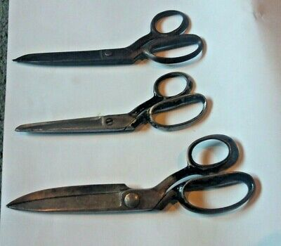 3 vintage pairs of dressmakers scissors / shears incl WISS (2) & Harrison Bros