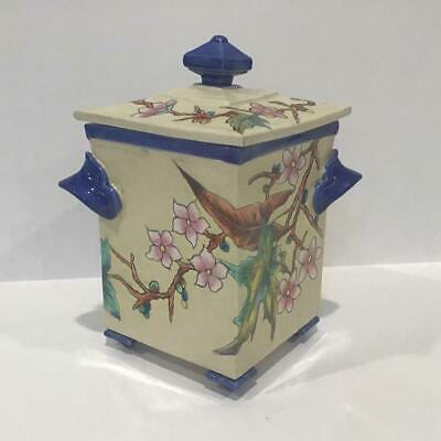 c1887 Royal Worcester Majolica/Faience Pottery Lidded Sugar or Box, Aesthetic