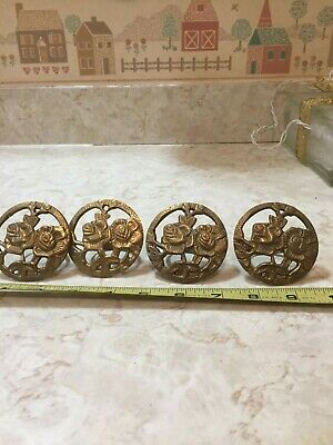 4 Vintage Drapery Curtain Tie Back Ring Holder Rose Embossed Ornate Brass