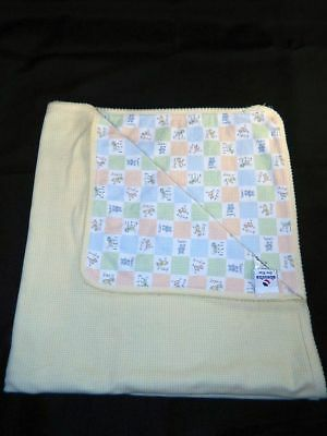 Absorba Yellow Checkered AMIS Dog Cat Bird Baby Blanket Excellent Condition