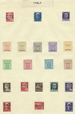 ITALY 1940's collection post-war military governance mint stamps, old album page