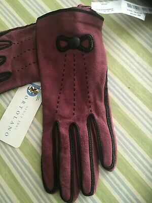 Portolano Dark Pink with Black Details Leather Gloves S NWT
