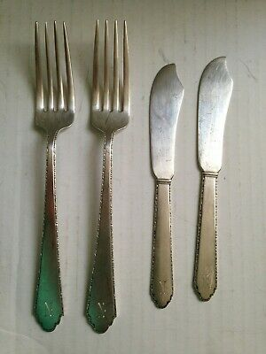 1921 Lunt Sterling Silver William & Mary Treasure 2 Butter Knives/2 Dinner Forks