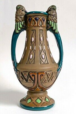 Amphora Austria Jugendstil crown mark jeweled vase with figural bird handles